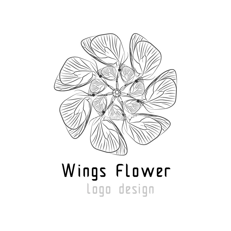 Wings-flower-logo-design