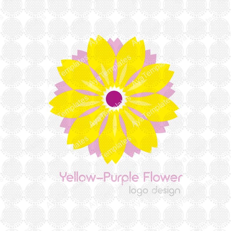 Yellow-Purple-flower-logo-design