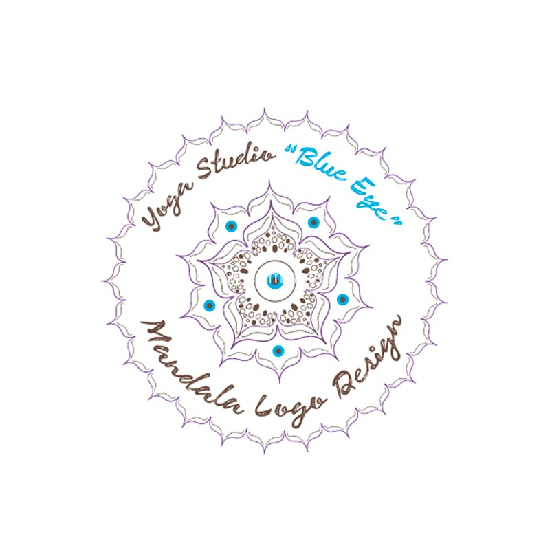 Yoga Studio Blue Eye Mandala Logo Design Aya Templates