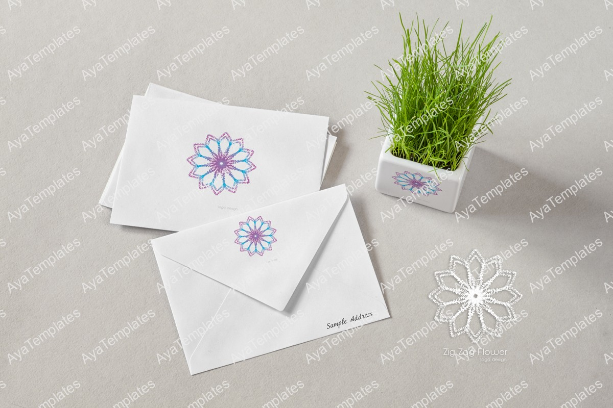 Zig-Zag-flower-logo-design-branding-mockup-ayatemplates