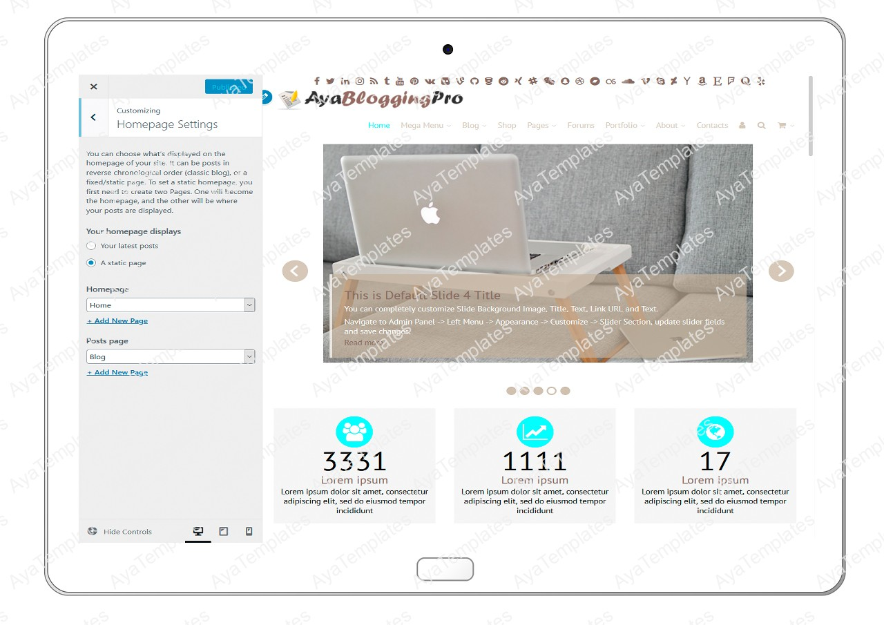 ayabloggingpro-customize-homepage-settings