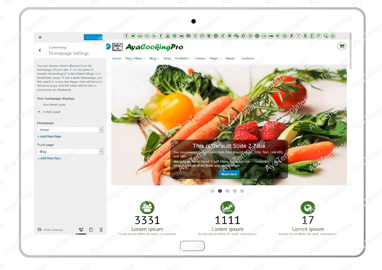ayacookingpro-customizing-homepage-settings