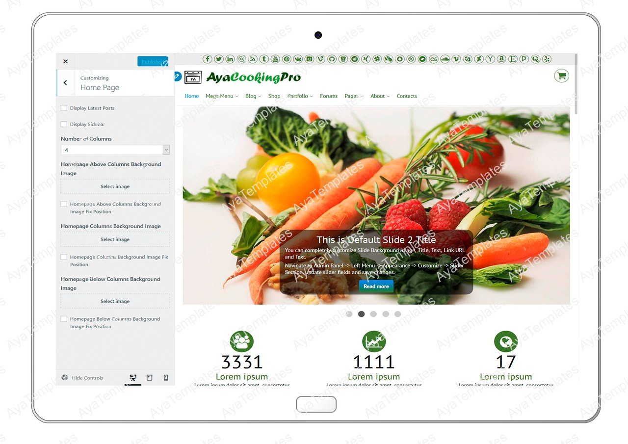 ayacookingpro-customizing-homepage