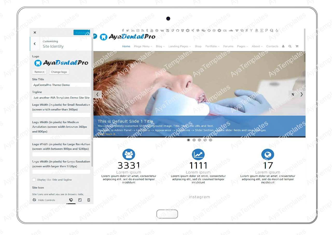 ayadentalpro-customizing-site-identity