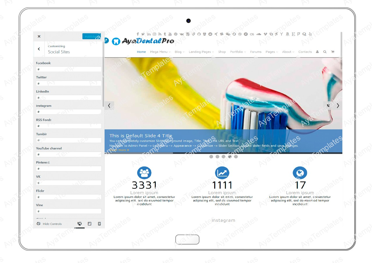 ayadentalpro-customizing-social-sites