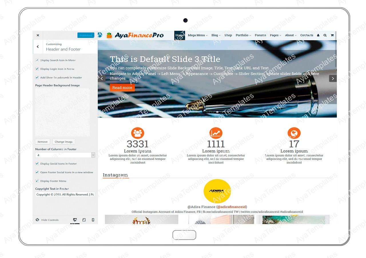 ayafinancepro-customizing-header-and-footer
