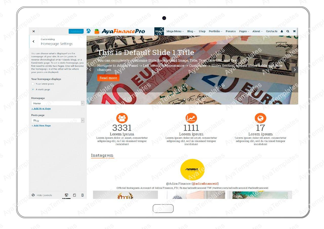 ayafinancepro-customizing-homepage-settings