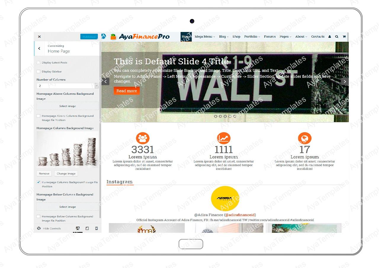ayafinancepro-customizing-homepage