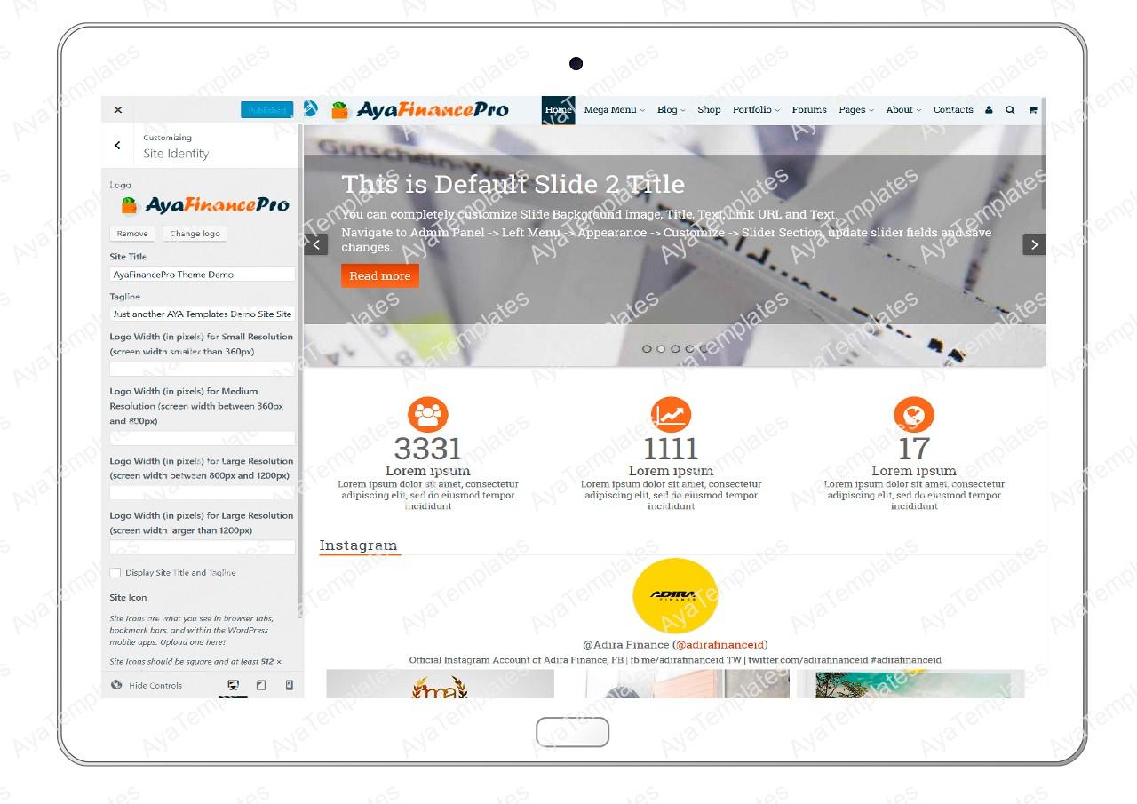 ayafinancepro-customizing-site-identity