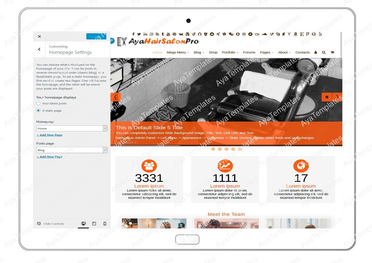ayahairsalonpro-customizing-homepage-settings1