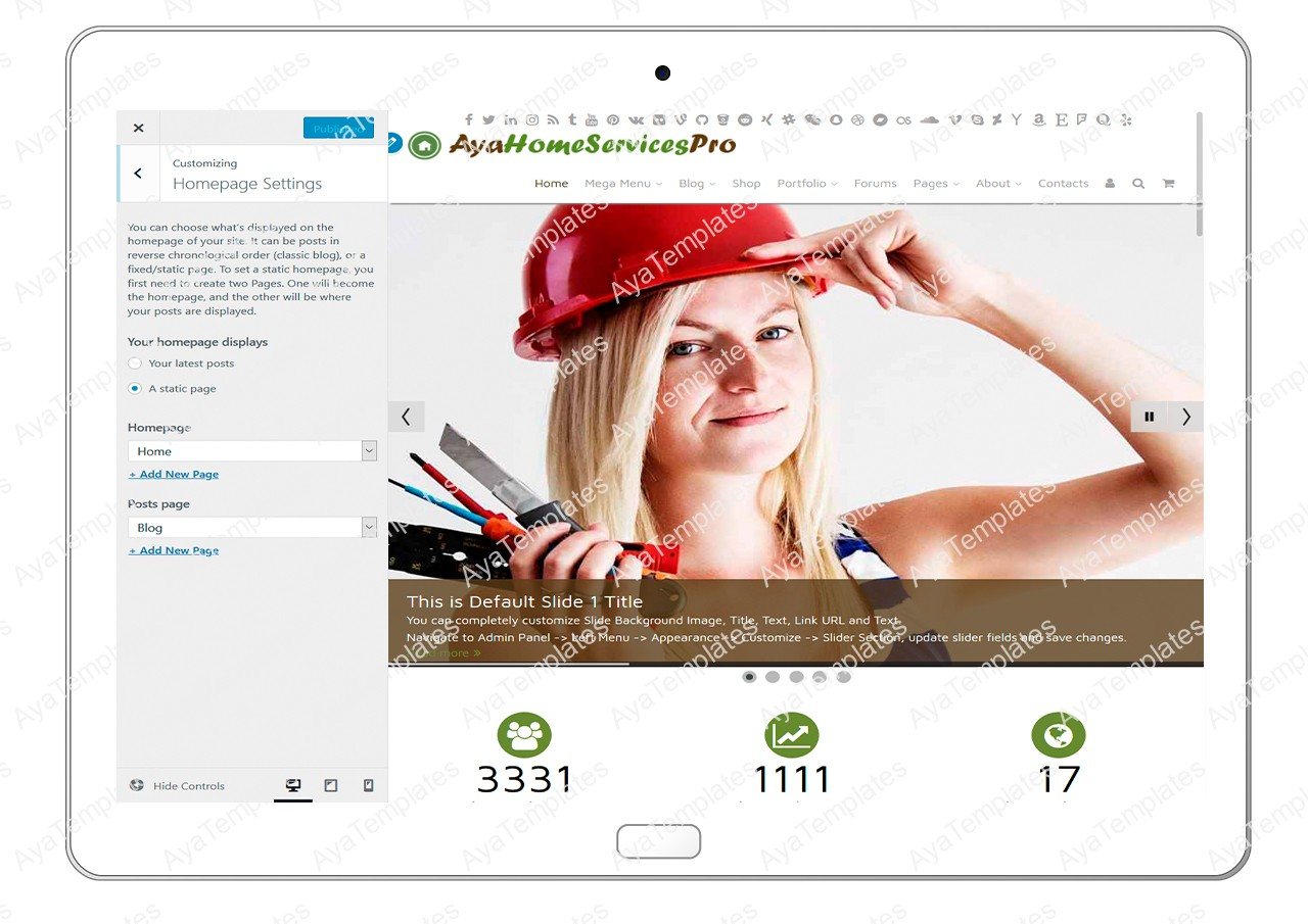 ayahomeservicespro-customizing-homepage-settings
