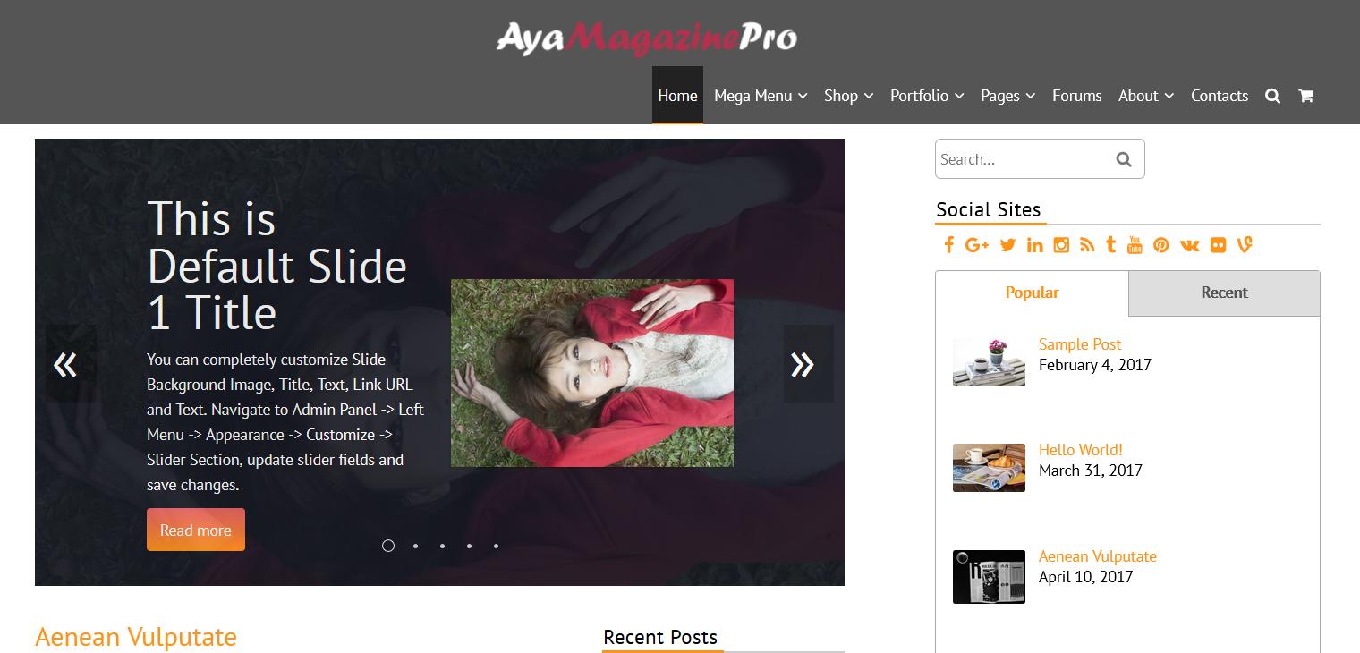 AyaMagazinePro: Center Header Logo
