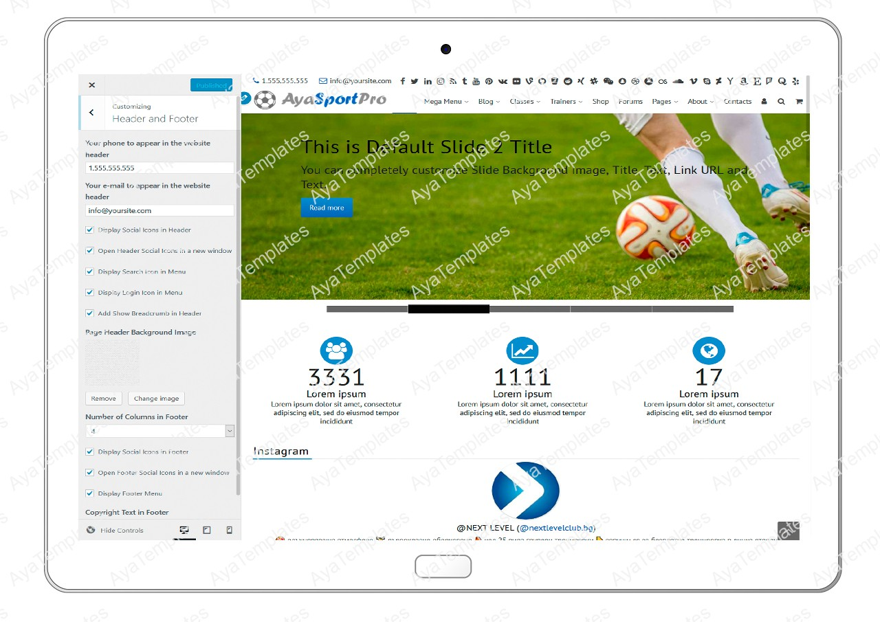 ayasportpro-customizing-header-and-footer