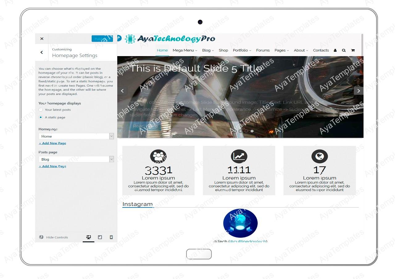 ayatechnologypro-customizing-homepage-settings