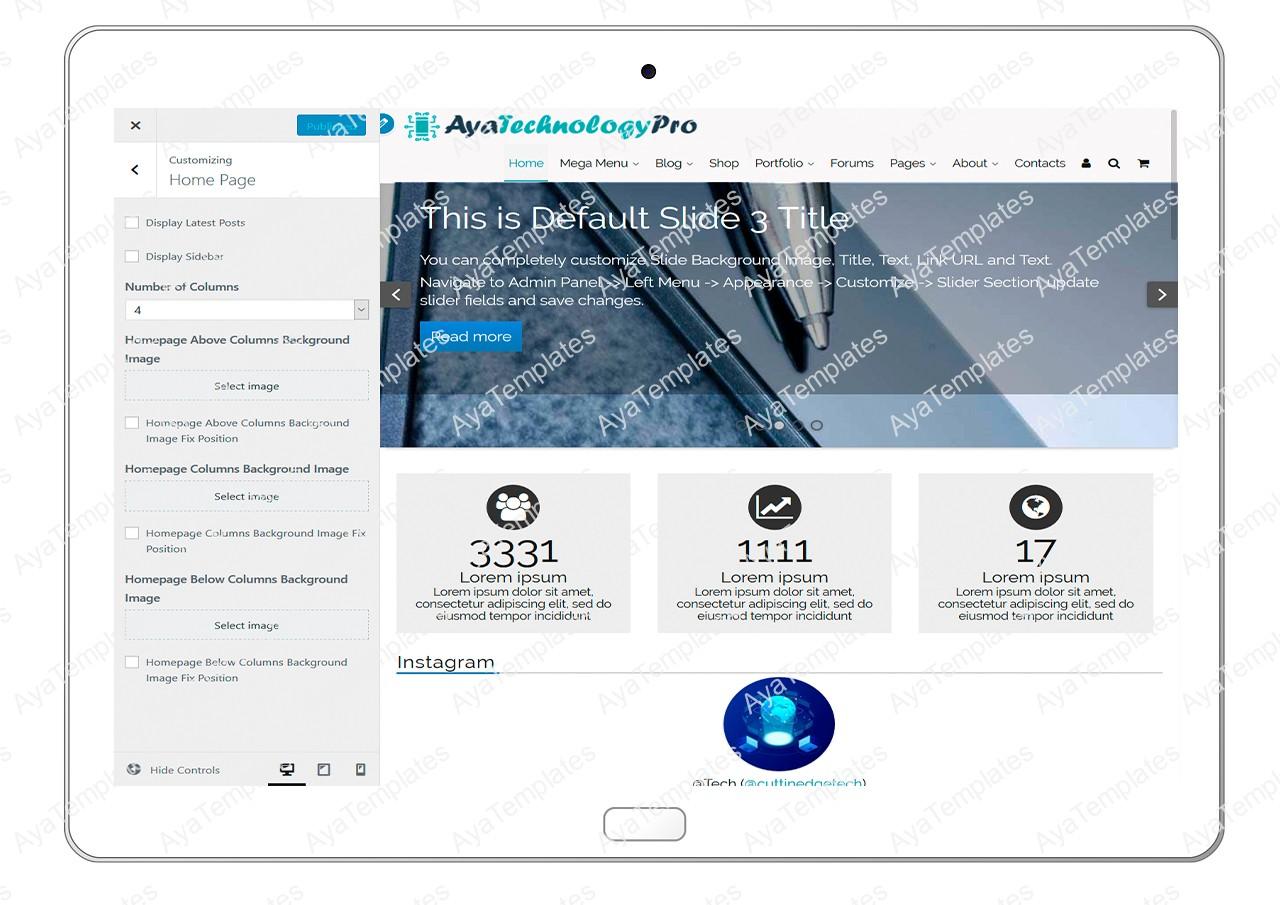 ayatechnologypro-customizing-homepage