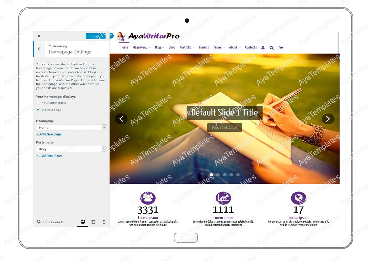ayawriterpro-customizing-homepage-settings