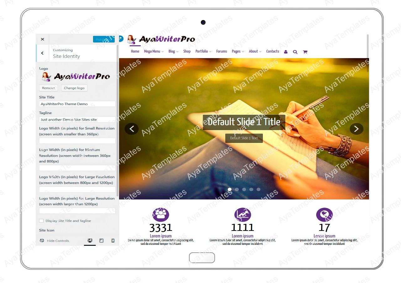 ayawriterpro-customizing-site-identity