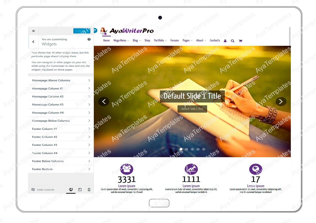 ayawriterpro-customizing-widgets