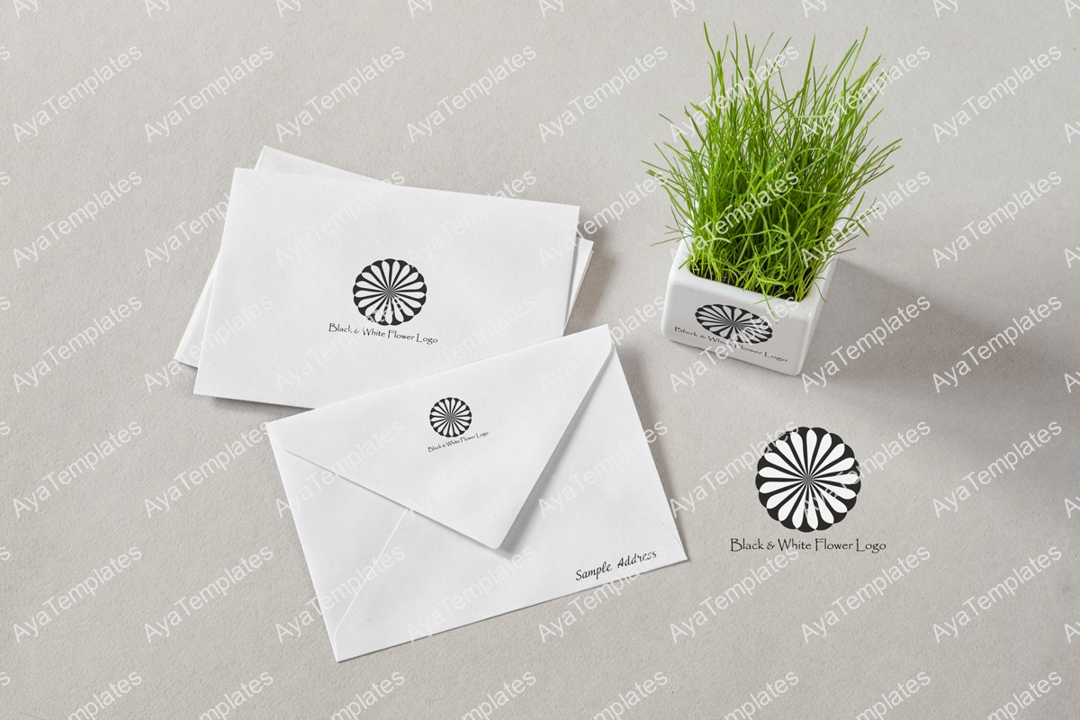 black-and-white-flower-logo-branding-mockup-aya-templates