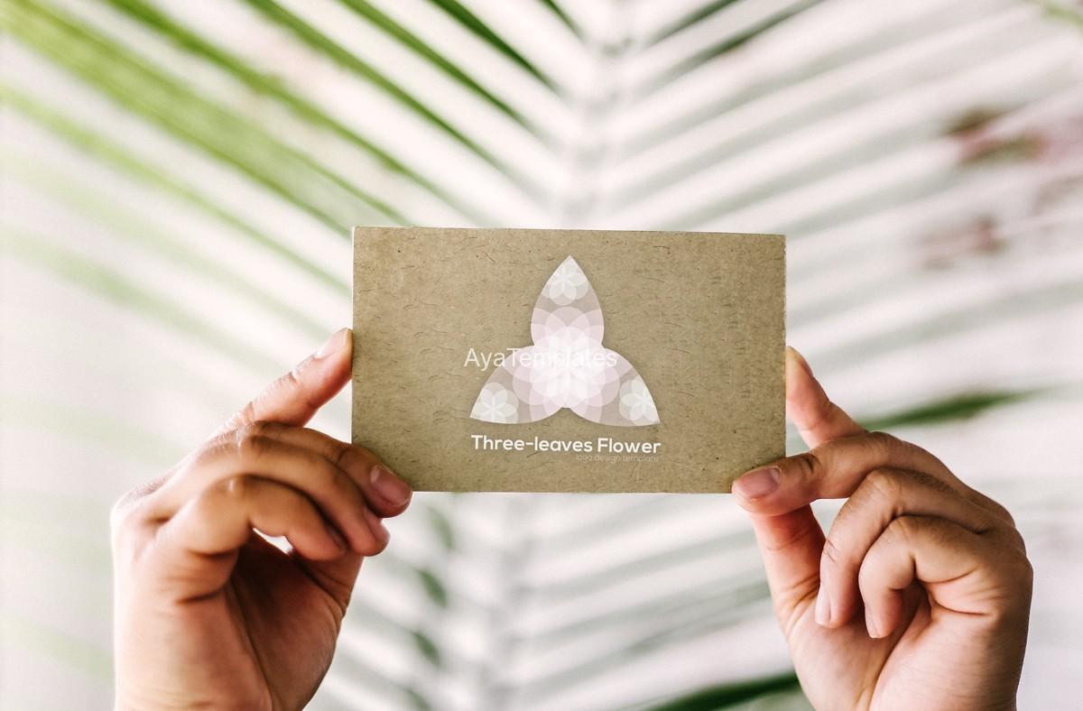 business-card-logo-branding-mockup-three-leaves-logo