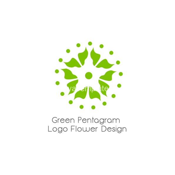green-pentagram-logo-flower-design-aya-templates