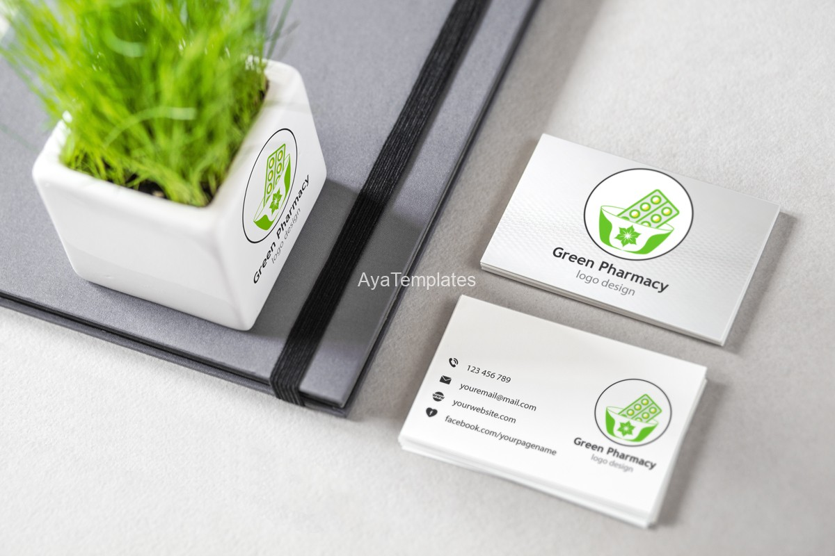 green-pharmacy-logo-design-brand-mockup-business-cards-ayatemplates