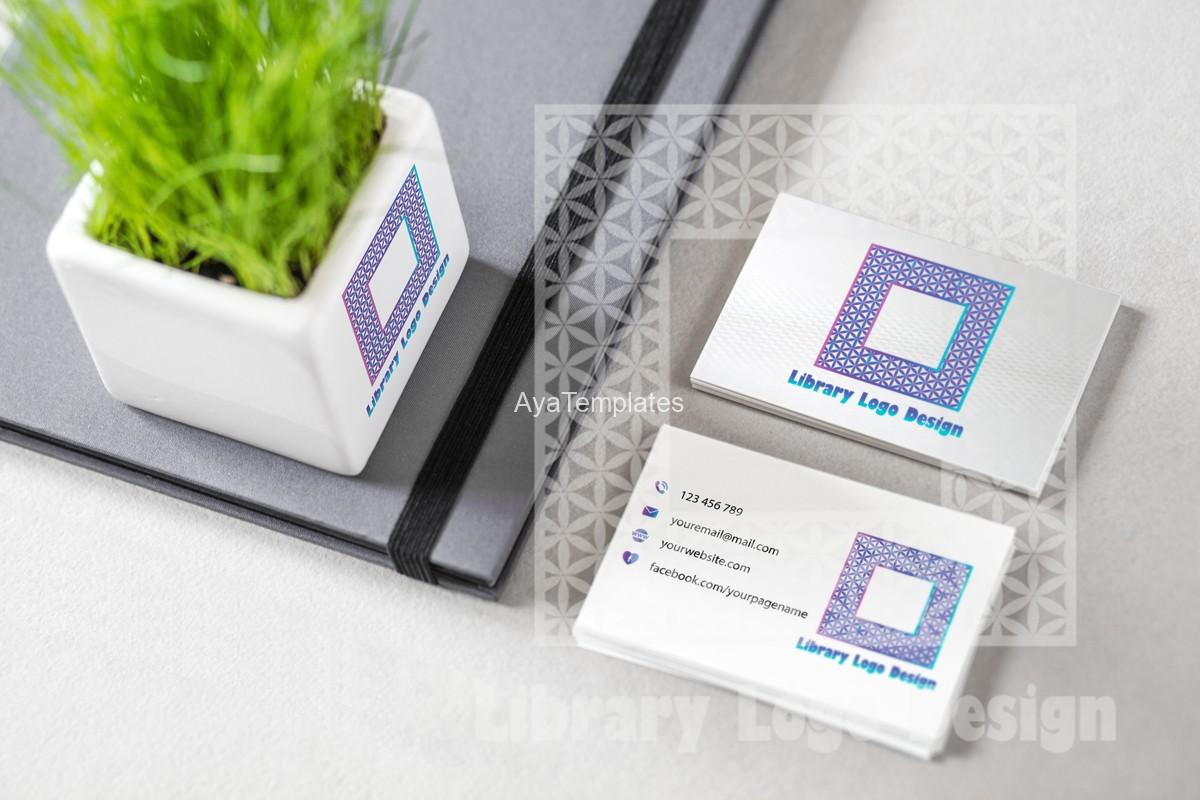 library-logo-design-mockup-branding-business-card