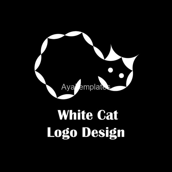 white-cat-logo-design-aya-templates