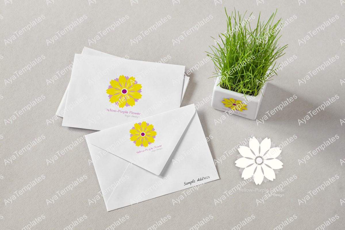 yellow-purple-flower-logo-design-brand-mockup-ayatemplates