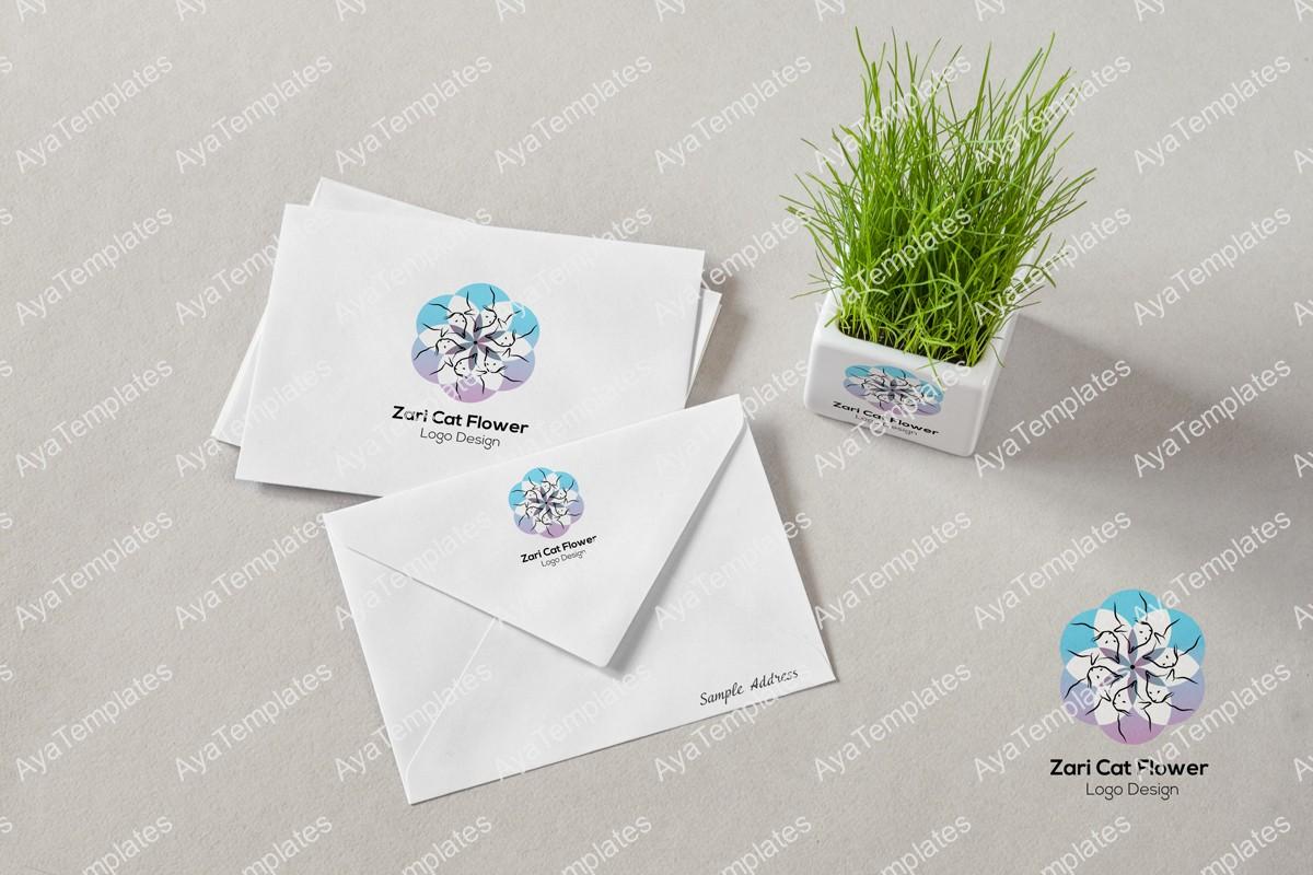 zari-cat-flower-logo-design-mockup-branding